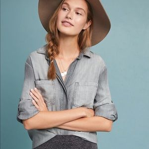 Anthropologie Cloth & Stone Gray tencel tunic